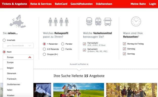 Angebotsberater der Deutsche Bahn zum finden von Europa-Sparpreisen