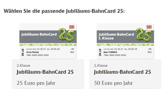 Jubiläums BahnCard 25