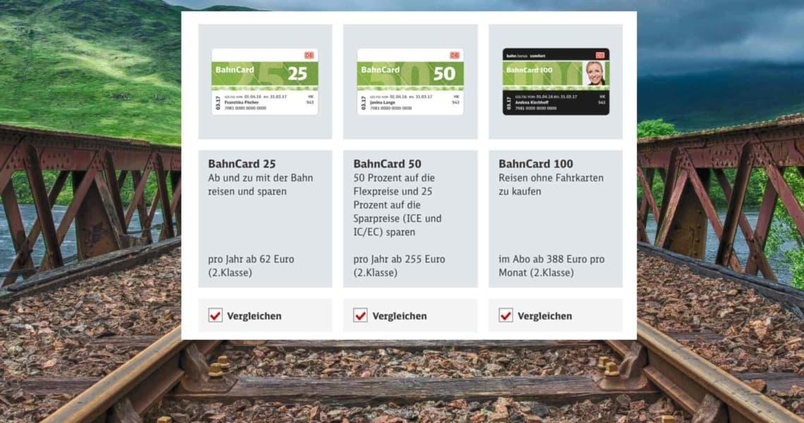 BahnCard Kosten Vergleich BahnCard 25 50 100