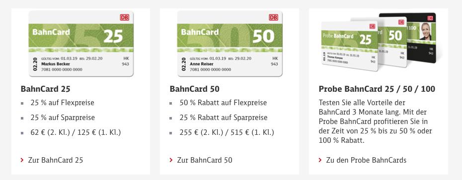 Bahncard Vergleich